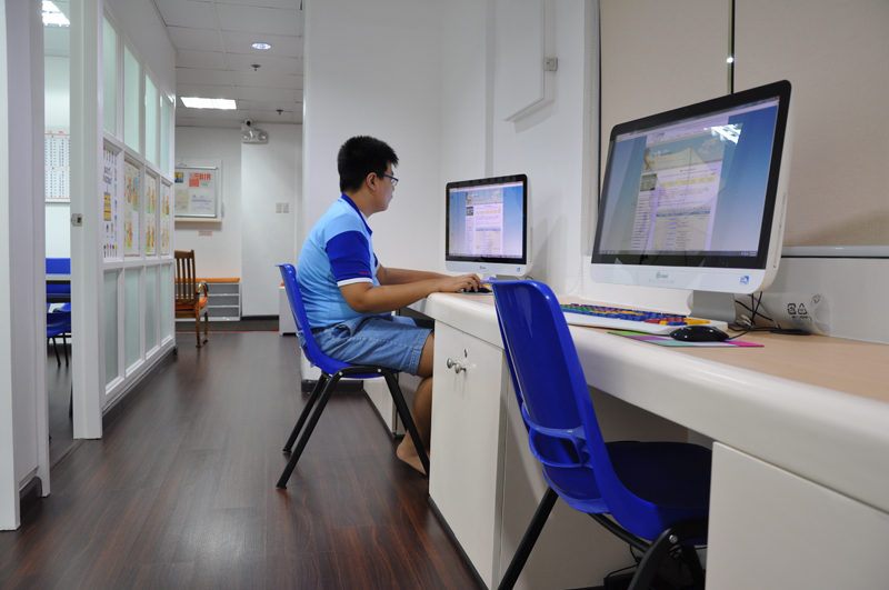 A student doing his online practice